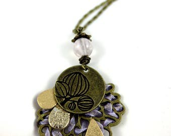 """Short necklace metal and leather """"Lotus"""""""