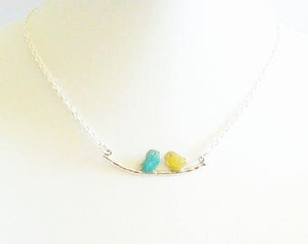 """""""Two birds on a branch"""" romantic dainty necklace, turquoise and green almond."""