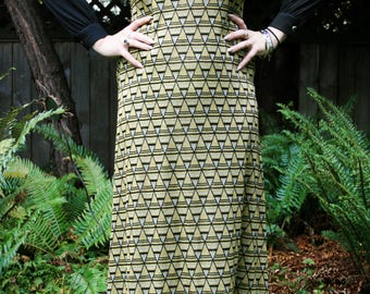80's style gold and black maxi dress