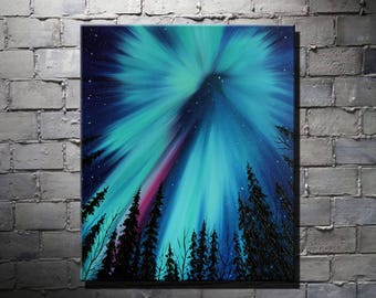 Forest Painting Northern Lights Art Painting Night Sky Art Aurora Borealis Oil painting on canvas Aurora Borealis Starry Sky Home Decoration