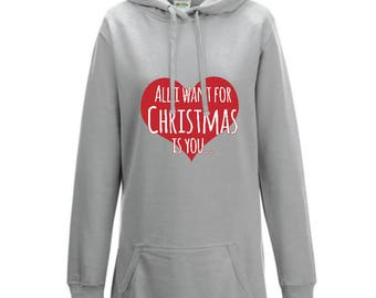 Womans - All I want for Christmas is You - Grey Hoodie