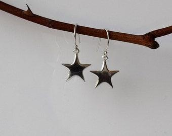 Silver Star Earrings,Star Drop Earrings, Star Earrings, Sterling Silver Earrings, Dangle and Drop Earrings, Modern Earrings,Dangle Earrings