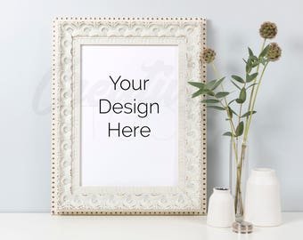 Styled Frame Mockup, White Frame Mockup, A4 print, Mockup, Wedding Mockup, White Frame, PSD Smart Object & JPEG, Instant Digital Download