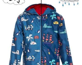 COAT magical blue PIRATES that changes color in the rain! Magic Colour Changing Blue Pirate Raincoat