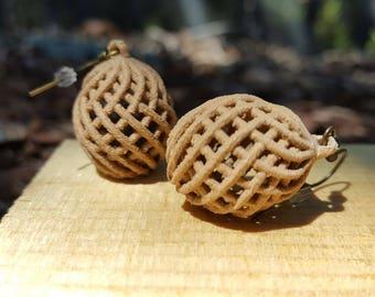 Geometric Handmade Wooden Earring, Environmentally-friendly 3D Printed.