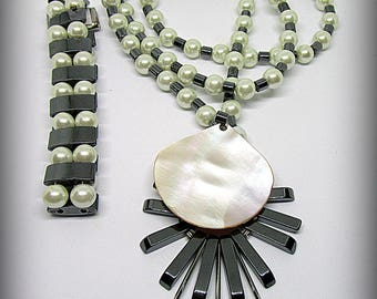 Set: Necklace and bracelet hematite and artificial pearls