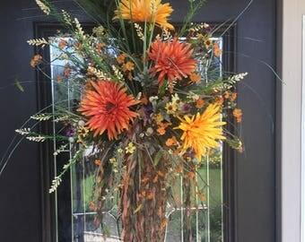 Fall Door Decor, Gerber Daisy Basket, Fall Door Arrangement, Orange and Yellow Basket, Fall Door Basket, Fall Front door hanging Basket