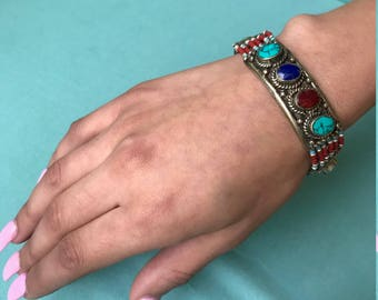 Ethnic turquoise lapis and coral bracelet