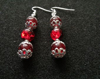 211. Ruby Red Dangling Earrings