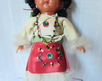 1950's Native American Indian Squaw Doll with Papoose 2 babies