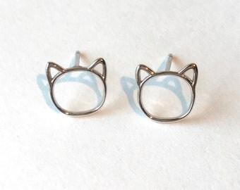 Cat earrings studs cat lover gift kitten earrings cat studs cat mom gift crazy cat lady stud earrings silver cat stud earrings fur baby gift