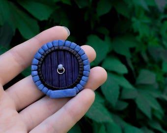 Hobbit door clay brooch the hobbit jewelry dark blue lotr sign lotr gift for women