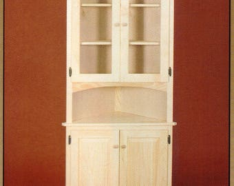 Unfinished Pine Corner Hutch