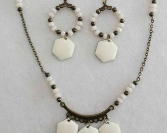 "Set ""Cream"" necklace and bronze earrings with faceted donuts cream glass pearls"