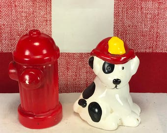 Vintage Russ Dalmatian and Fire Hydrant Salt and Pepper Shaker