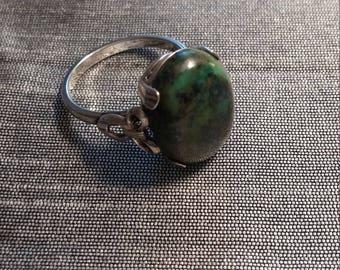Sterling Silver Green Jade Ring