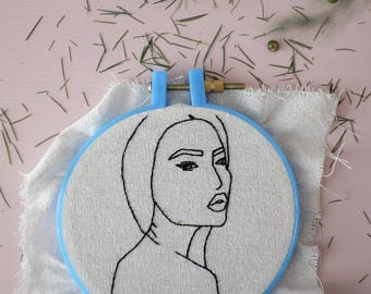 Woman portrait embroidery
