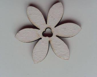 fleur  en bois blanche  35mm