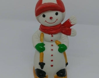 Vintage Snowman Skier Frankel Figurine Winter Collectibles Altered Repurposed Art