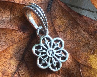 Pandora Charm Sterling Silver Floral Daisy Lace Dangle Charm #791835