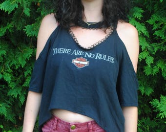 There Are No Rules Harley Davidson Upcycled Woman's Shirt Size M/L