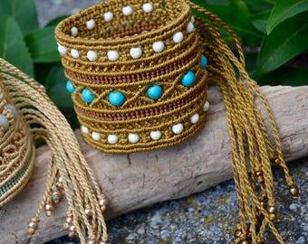 Gold and turquoise tribal bracelet, macrame bracelet, ethnic style, bohemian style, macrame jewelry, turquoise stone
