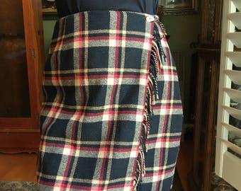 Vintage Sag Harbor Plaid Kilt Skirt