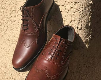 Handmade Leather Shoes. Handmade Mens Shoes. Leather Wingtips . Custom Made Shoes. Leather Shoes. Dress Shoes . Size 7.5 and 8