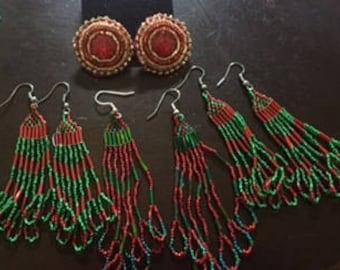 Beaded christmas earrings