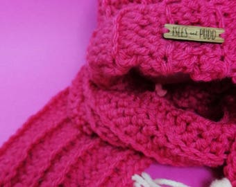 Kids Hat + Scarf Set | PINK | Crocheted Unisex Hat + Scarf Set