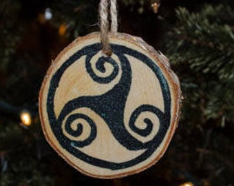 Triskele on Birch Christmas Yule Tree Ornament