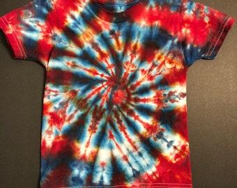 Red & Blue Spiral Tie Dye Toddler 2T shirt