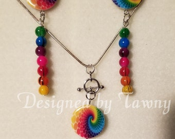 Multi-colored Necklace and Earrings Set