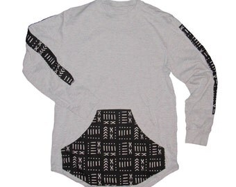 Gray Long Sleeve-African printed tee