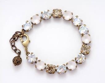 Clear Bracelet, Clear Crystal Bracelet, White Bracelet, Swarovski Crystal Jewelry, Clear Rhinestone Bracelet, White Crystal Bracelet, Duci