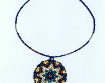 Blue storm Necklace- Beaded Huichol Necklace