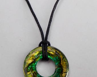 Forestry Green Alcohol Ink Washer Necklace