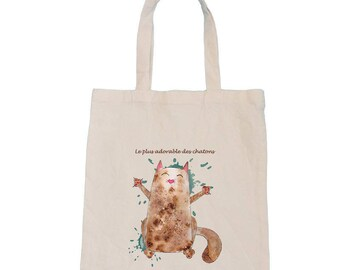 Organic cotton bag personalized cat Tote