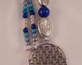 XL necklace made of acrylic beads, Polarisperle, quartz and the flower of life with tassel