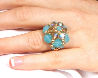 Beaded blue opal and gold flower ring