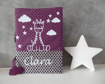 Health Book personalized Giraffe and clouds on fabrics plum and gray - name choice