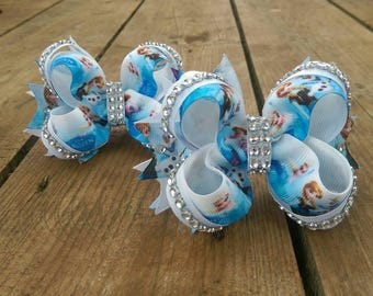 Boutique Big Bow Lot Toddler Girl Hairbow Holder For Little Girl Bow Clip Blue Hair Bow Clip Ponytail Holder Lot Princess Outfit Christmas