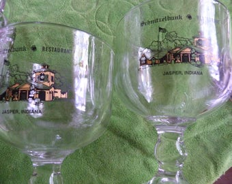 "2 Vintage Jasper Indiana Schnitzelbank Beer Glasses! ""FREE SHIPPING!"""