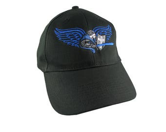 Saint Michael Archangel Thin Blue Line Symbolic Blue Embroidery on Black Structured Adjustable Baseball Cap with Option to Personalize Back