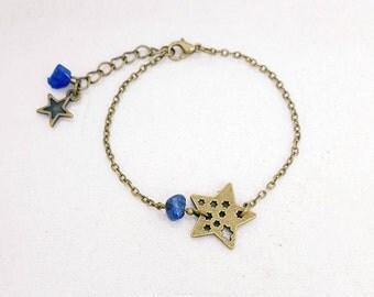 Star - lapis lazuli Beads Bracelet - Bronze