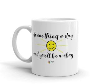 Motivational Office Mug, Inspirational Quote Mug, Motivational Quote Mug, Encouragement Gift, One Thing a Day, Encouragement Mug, Work Mug