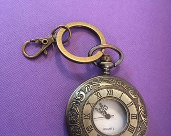 Time is of the Essence pocket watch keychain