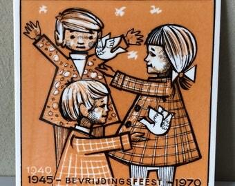 Dutch Commemorative Tile - WW2 - Celebrating Liberation Day 1970