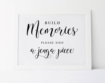 Build Memories Please Sign A Jenga Piece, Wedding Signage, Jenga Piece Guestbook, Guest Book Sign, Jenga Sign, Reception Signs