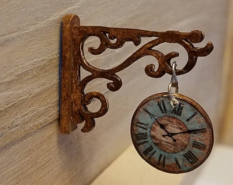 Miniature Scroll Wall Clock, Farmhouse Clock, Hanging Clock, Dollhouse Miniatures, Miniature Furniture, Dollhouse Miniatures, Handmade